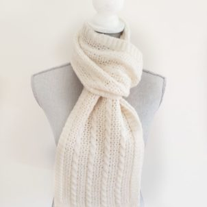 Cream Cable and Lace Scarf