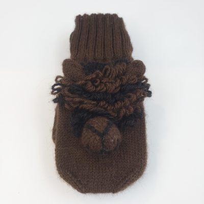 Dark Brown Alpaca Face Mittens