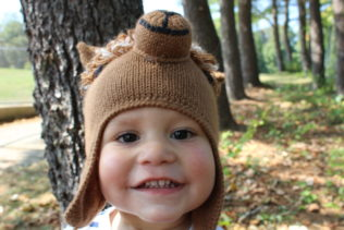 child brown alpaca face hat