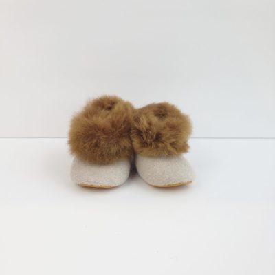 alpaca baby booties beige