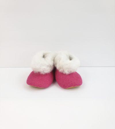 Alpaca Baby Booties Pink
