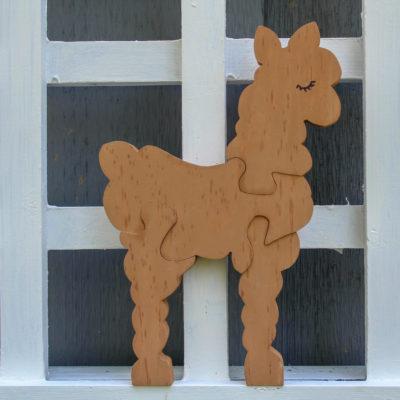 Brown Toddler Wooden alpaca puzzle