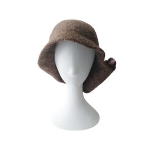 brown rolled wool hat