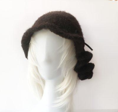 Handmade alpaca and wool ruffle hat