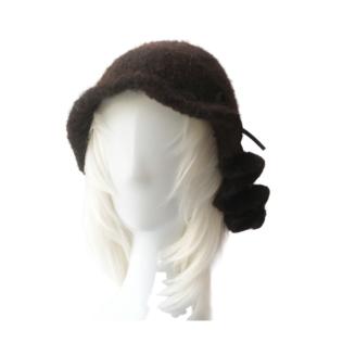 black ribbon wool hat