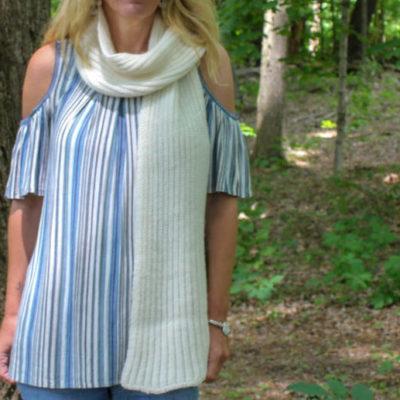 Ribbed unisex alpaca scarf made in America