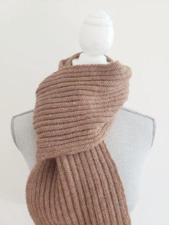 Ribbed fawn alpaca scarf unisex