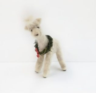 Needle felted alpaca statue of Bella