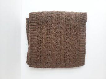 Cable and Lace alpaca scarf dark brown unisex alpaca scarf