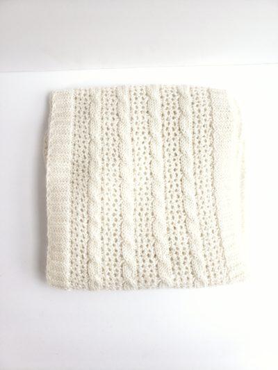 Cream cable and lace alpaca scarf U.S. grown alpaca fiber