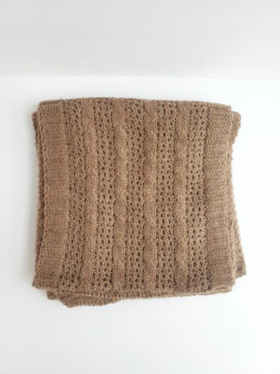 Cable and lace light brown alpaca scarf made in the USA