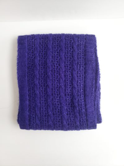 cable and lace unisex alpaca scarf
