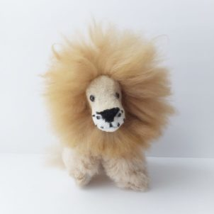 Adorable lion plush made from alpaca